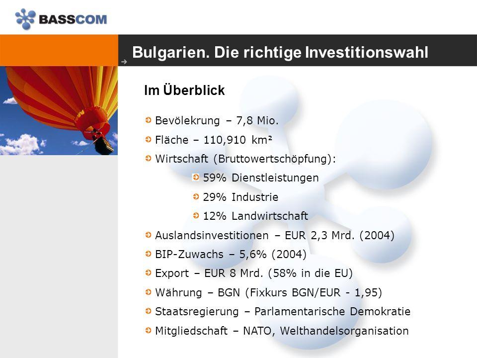 Bulgarien. Die richtige Investitionswahl Im Überblick Bevölekrung – 7,8 Mio.