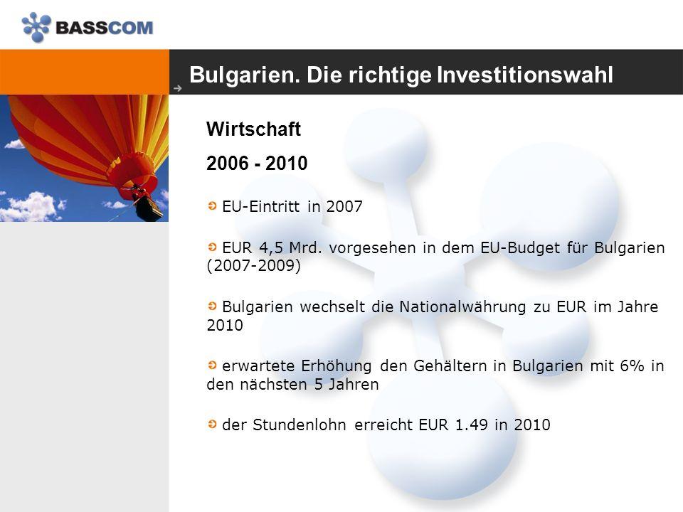 Bulgarien. Die richtige Investitionswahl Wirtschaft 2006 - 2010 EU-Eintritt in 2007 EUR 4,5 Mrd.