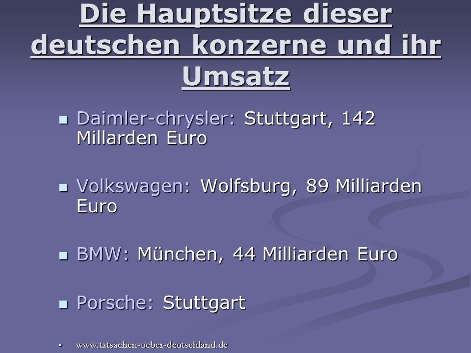 Die Hauptsitze dieser deutschen konzerne und ihr Umsatz Daimler-chrysler: Stuttgart, 142 Millarden Euro Daimler-chrysler: Stuttgart, 142 Millarden Eur