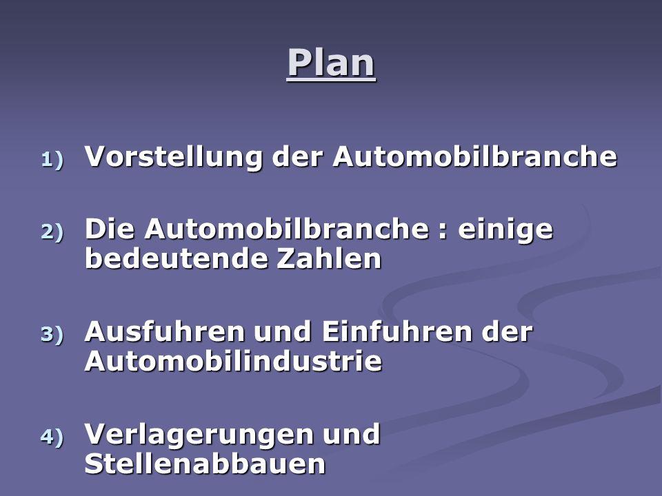 Plan 1) Vorstellung der Automobilbranche 2) Die Automobilbranche : einige bedeutende Zahlen 3) Ausfuhren und Einfuhren der Automobilindustrie 4) Verlagerungen und Stellenabbauen