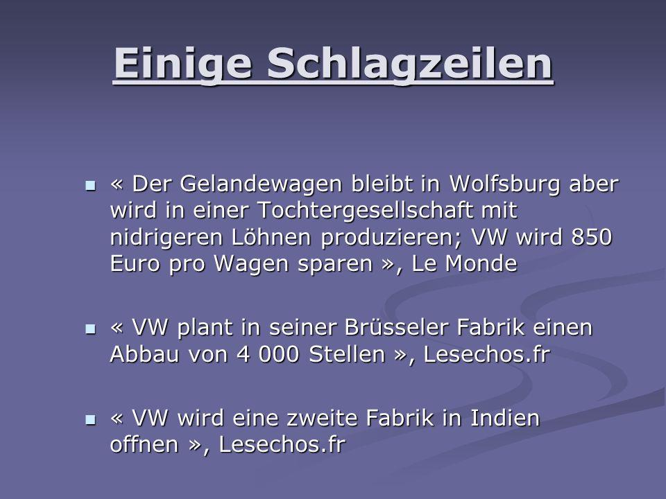Einige Schlagzeilen « Der Gelandewagen bleibt in Wolfsburg aber wird in einer Tochtergesellschaft mit nidrigeren Löhnen produzieren; VW wird 850 Euro pro Wagen sparen », Le Monde « Der Gelandewagen bleibt in Wolfsburg aber wird in einer Tochtergesellschaft mit nidrigeren Löhnen produzieren; VW wird 850 Euro pro Wagen sparen », Le Monde « VW plant in seiner Brüsseler Fabrik einen Abbau von 4 000 Stellen », Lesechos.fr « VW plant in seiner Brüsseler Fabrik einen Abbau von 4 000 Stellen », Lesechos.fr « VW wird eine zweite Fabrik in Indien offnen », Lesechos.fr « VW wird eine zweite Fabrik in Indien offnen », Lesechos.fr