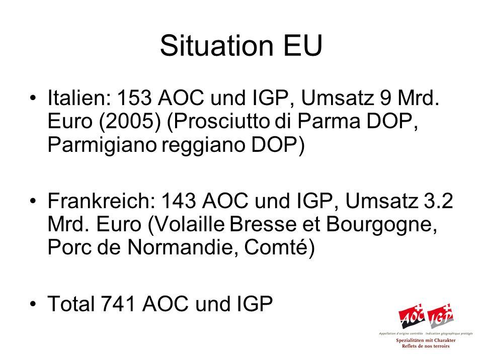 Situation EU Italien: 153 AOC und IGP, Umsatz 9 Mrd.