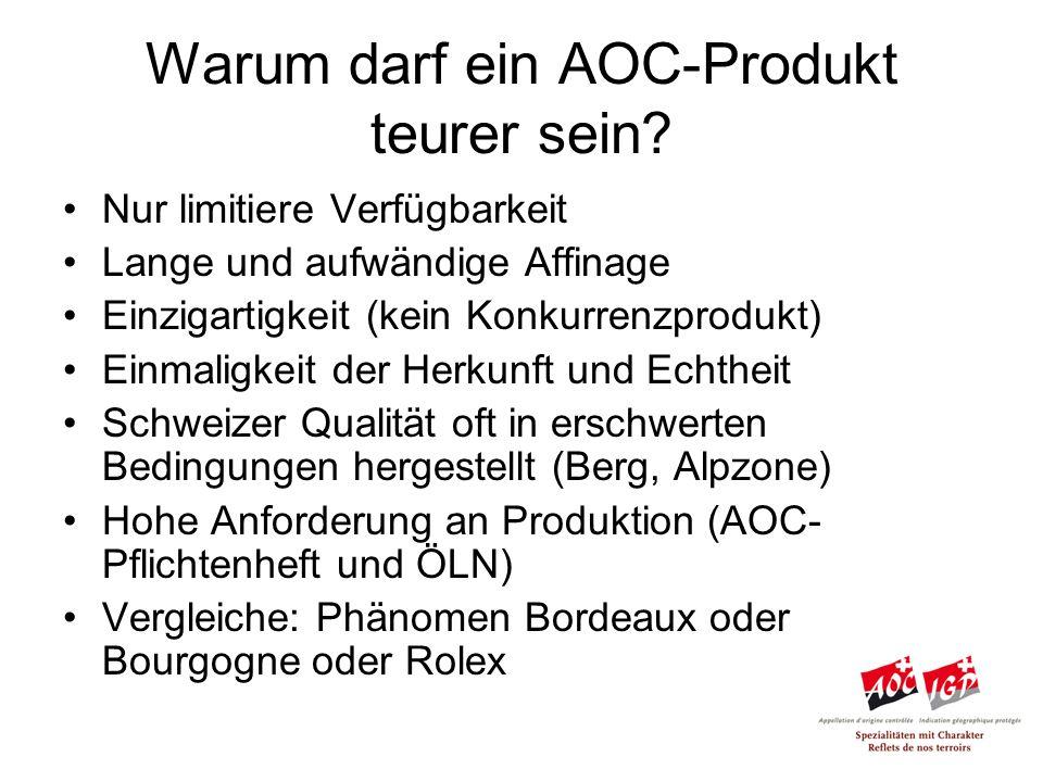 Warum darf ein AOC-Produkt teurer sein.