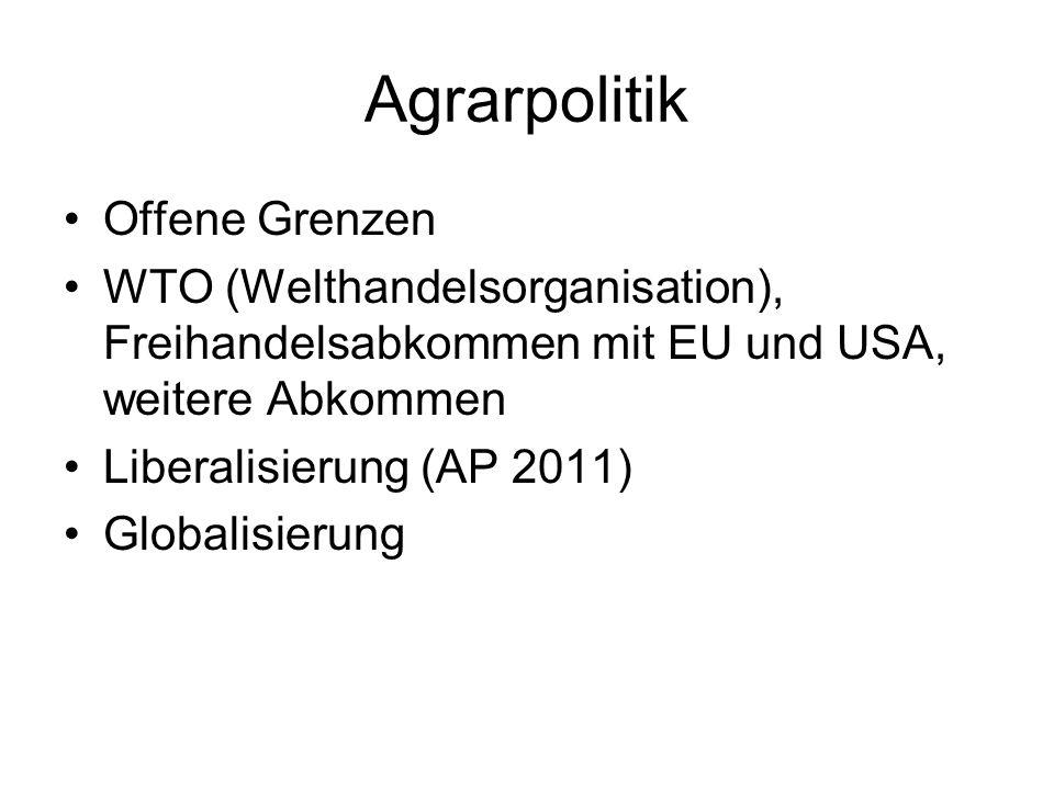 Agrarpolitik Offene Grenzen WTO (Welthandelsorganisation), Freihandelsabkommen mit EU und USA, weitere Abkommen Liberalisierung (AP 2011) Globalisierung