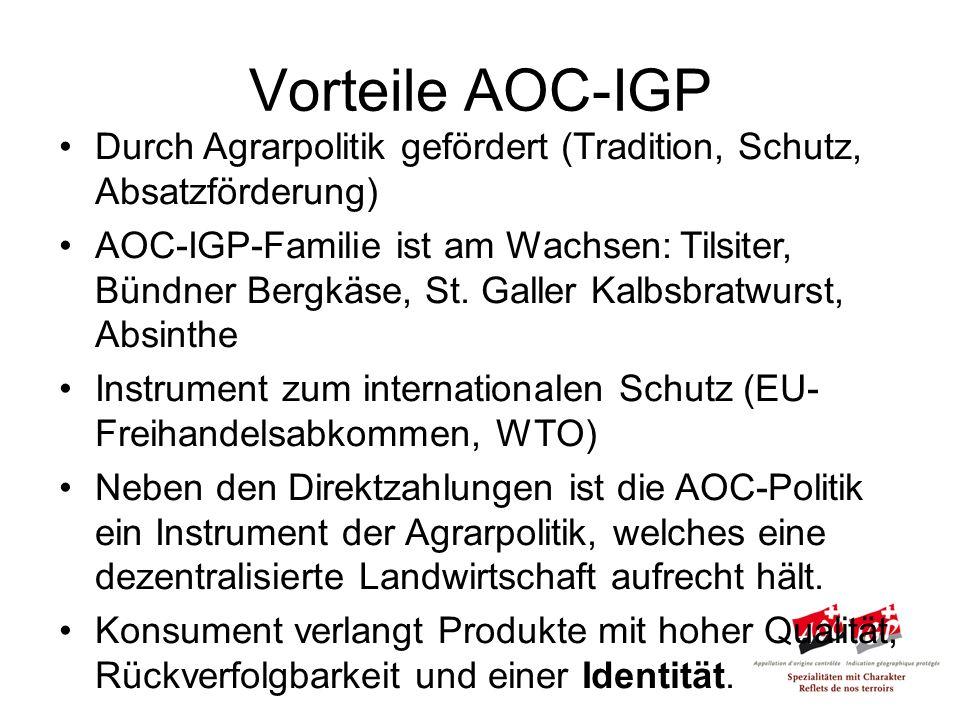 Durch Agrarpolitik gefördert (Tradition, Schutz, Absatzförderung) AOC-IGP-Familie ist am Wachsen: Tilsiter, Bündner Bergkäse, St.