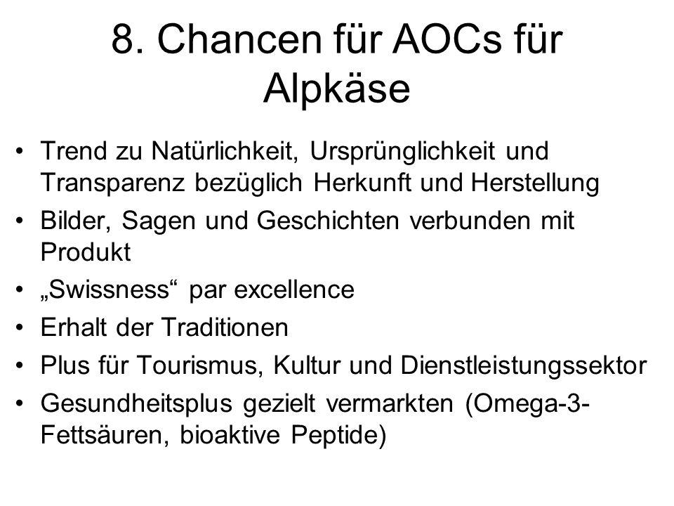 8. Chancen für AOCs für Alpkäse Trend zu Natürlichkeit, Ursprünglichkeit und Transparenz bezüglich Herkunft und Herstellung Bilder, Sagen und Geschich