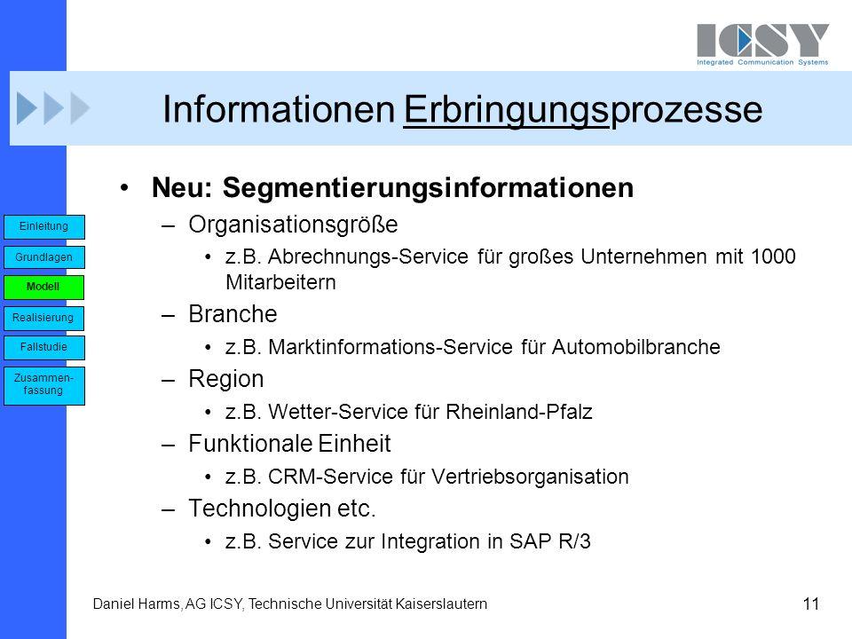 11 Daniel Harms, AG ICSY, Technische Universität Kaiserslautern Informationen Erbringungsprozesse Neu: Segmentierungsinformationen –Organisationsgröße