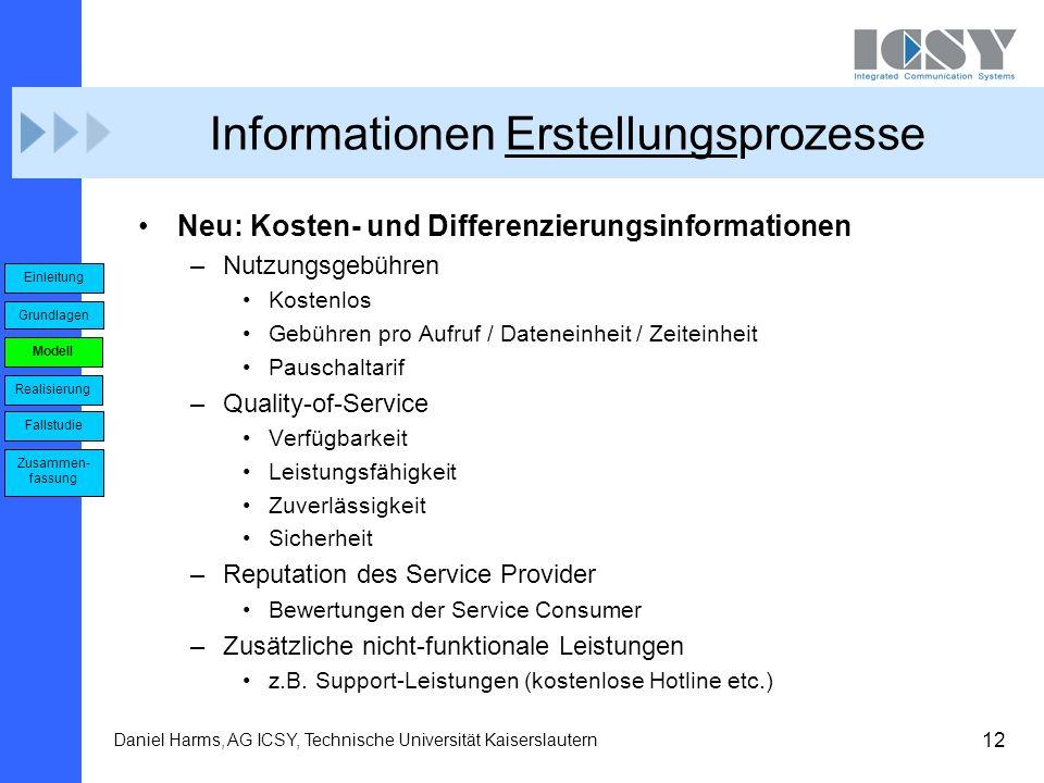 12 Daniel Harms, AG ICSY, Technische Universität Kaiserslautern Informationen Erstellungsprozesse Neu: Kosten- und Differenzierungsinformationen –Nutz