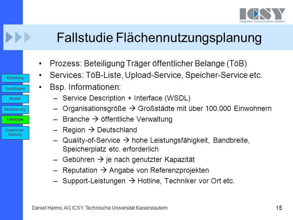 15 Daniel Harms, AG ICSY, Technische Universität Kaiserslautern Fallstudie Flächennutzungsplanung Prozess: Beteiligung Träger öffentlicher Belange (Tö
