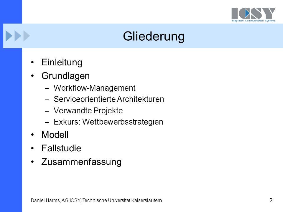 2 Daniel Harms, AG ICSY, Technische Universität Kaiserslautern Gliederung Einleitung Grundlagen –Workflow-Management –Serviceorientierte Architekturen
