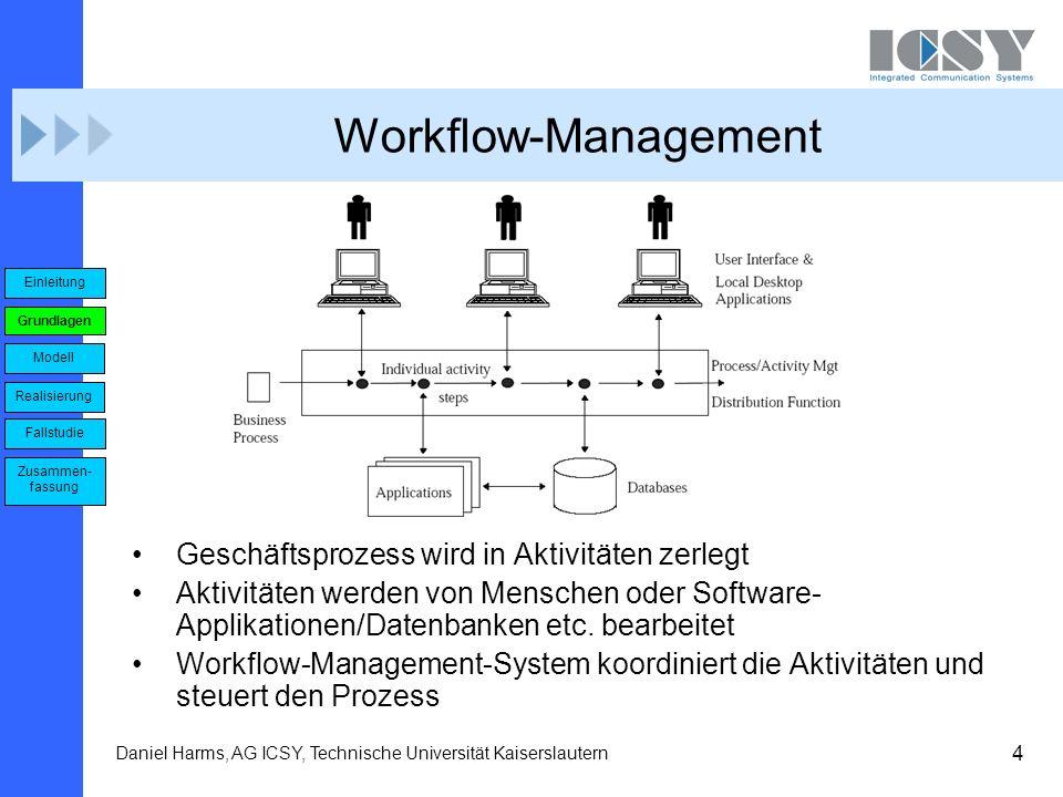 4 Daniel Harms, AG ICSY, Technische Universität Kaiserslautern Workflow-Management Geschäftsprozess wird in Aktivitäten zerlegt Aktivitäten werden von