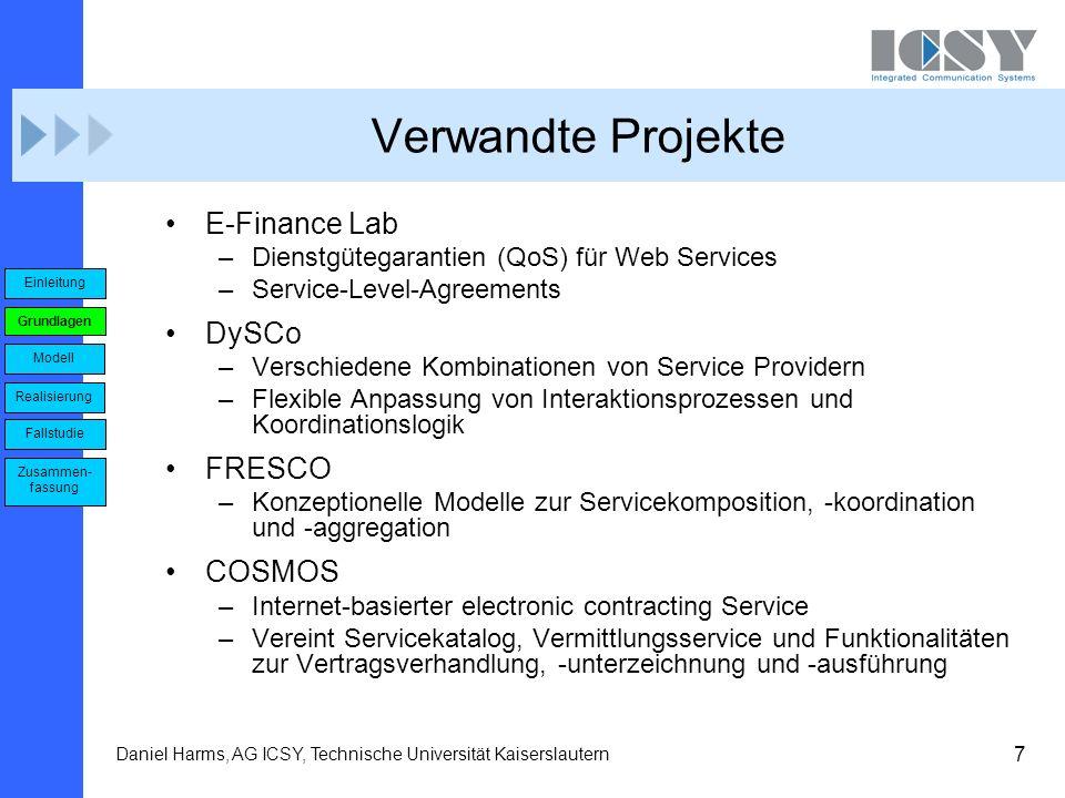 7 Daniel Harms, AG ICSY, Technische Universität Kaiserslautern Verwandte Projekte E-Finance Lab –Dienstgütegarantien (QoS) für Web Services –Service-L