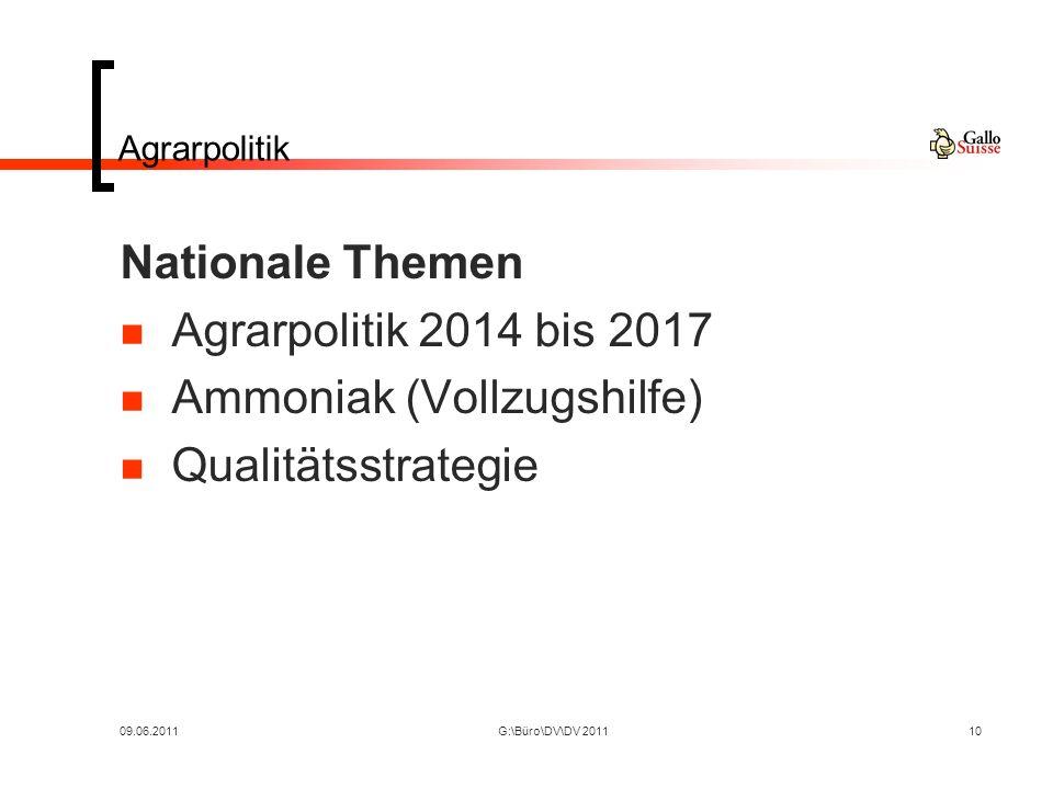 09.06.2011G:\Büro\DV\DV 201110 Agrarpolitik Nationale Themen Agrarpolitik 2014 bis 2017 Ammoniak (Vollzugshilfe) Qualitätsstrategie