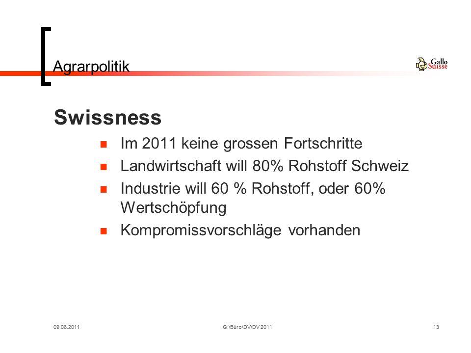 09.06.2011G:\Büro\DV\DV 201113 Agrarpolitik Swissness Im 2011 keine grossen Fortschritte Landwirtschaft will 80% Rohstoff Schweiz Industrie will 60 % Rohstoff, oder 60% Wertschöpfung Kompromissvorschläge vorhanden