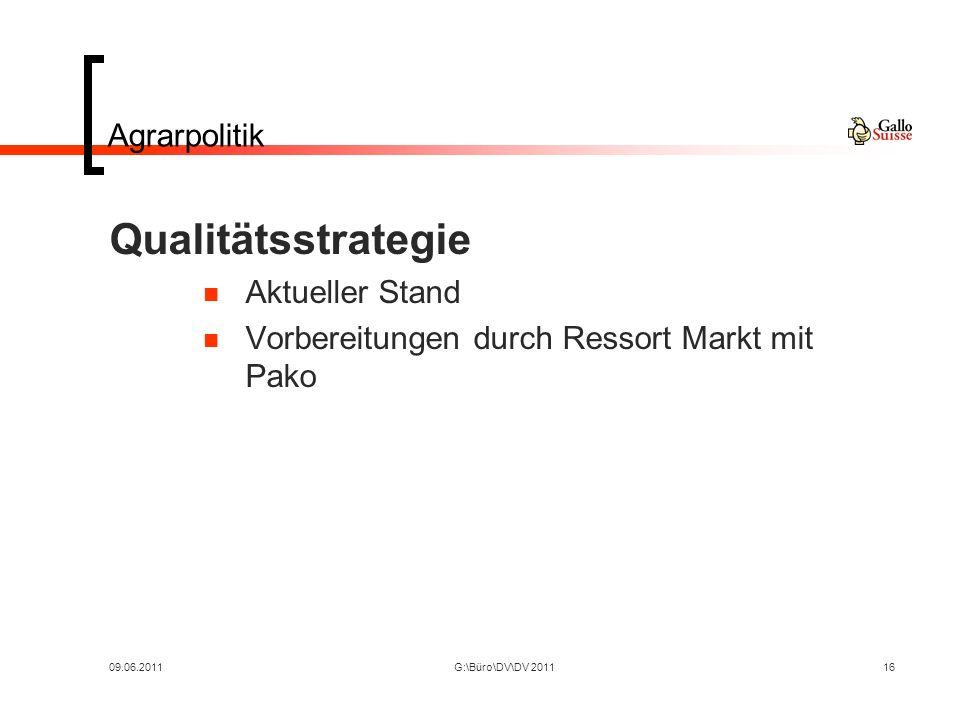 09.06.2011G:\Büro\DV\DV 201116 Agrarpolitik Qualitätsstrategie Aktueller Stand Vorbereitungen durch Ressort Markt mit Pako
