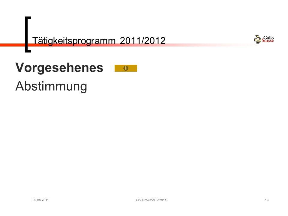 09.06.2011G:\Büro\DV\DV 201119 Tätigkeitsprogramm 2011/2012 Vorgesehenes Abstimmung