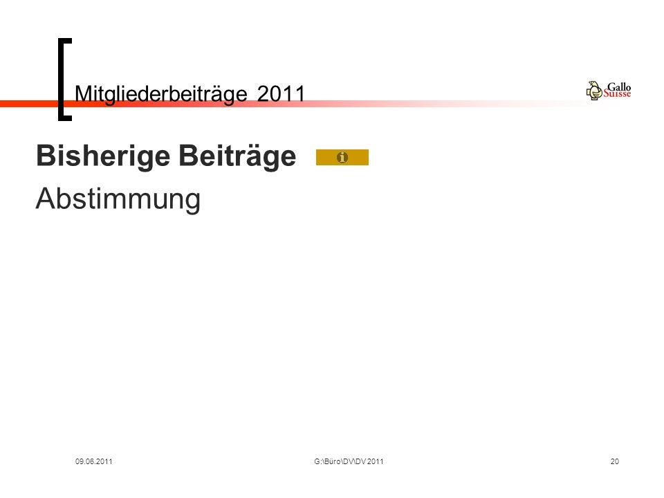 09.06.2011G:\Büro\DV\DV 201120 Mitgliederbeiträge 2011 Bisherige Beiträge Abstimmung