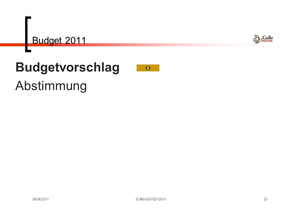 09.06.2011G:\Büro\DV\DV 201121 Budget 2011 Budgetvorschlag Abstimmung