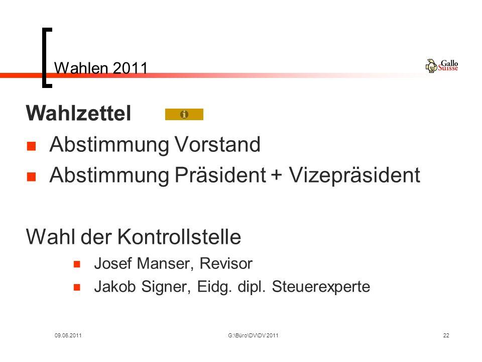 09.06.2011G:\Büro\DV\DV 201122 Wahlen 2011 Wahlzettel Abstimmung Vorstand Abstimmung Präsident + Vizepräsident Wahl der Kontrollstelle Josef Manser, Revisor Jakob Signer, Eidg.
