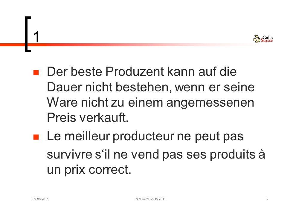 09.06.2011G:\Büro\DV\DV 20113 1 Der beste Produzent kann auf die Dauer nicht bestehen, wenn er seine Ware nicht zu einem angemessenen Preis verkauft.