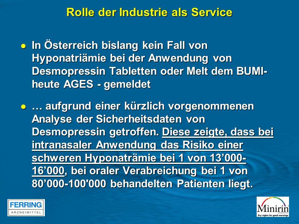In Österreich bislang kein Fall von Hyponatriämie bei der Anwendung von Desmopressin Tabletten oder Melt dem BUMI- heute AGES - gemeldet In Österreich