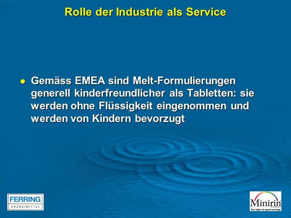 Rolle der Industrie als Service Gemäss EMEA sind Melt-Formulierungen generell kinderfreundlicher als Tabletten: sie werden ohne Flüssigkeit eingenomme
