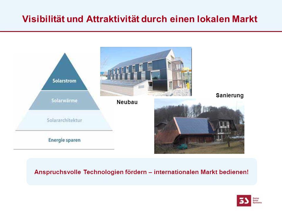 Visibilität und Attraktivität durch einen lokalen Markt Anspruchsvolle Technologien fördern – internationalen Markt bedienen.