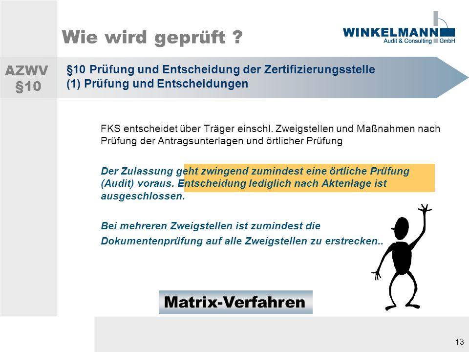 13 Wie wird geprüft .FKS entscheidet über Träger einschl.
