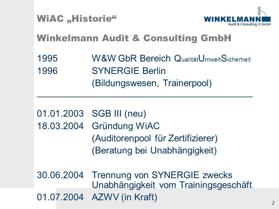 2 WiAC Historie Winkelmann Audit & Consulting GmbH 1995W&W GbR Bereich Q ualität U mwelt S icherheit 1996SYNERGIE Berlin (Bildungswesen, Trainerpool) ________________________________________________________ 01.01.2003SGB III (neu) 18.03.2004Gründung WiAC (Auditorenpool für Zertifizierer) (Beratung bei Unabhängigkeit) 30.06.2004Trennung von SYNERGIE zwecks Unabhängigkeit vom Trainingsgeschäft 01.07.2004AZWV (in Kraft)