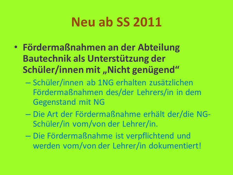 Neu ab SS 2011 Fördermaßnahmen an der Abteilung Bautechnik als Unterstützung der Schüler/innen mit Nicht genügend – Schüler/innen ab 1NG erhalten zusä