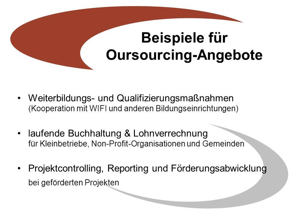 Beispiele für Oursourcing-Angebote Weiterbildungs- und Qualifizierungsmaßnahmen (Kooperation mit WIFI und anderen Bildungseinrichtungen) laufende Buchhaltung & Lohnverrechnung für Kleinbetriebe, Non-Profit-Organisationen und Gemeinden Projektcontrolling, Reporting und Förderungsabwicklung bei geförderten Projekten