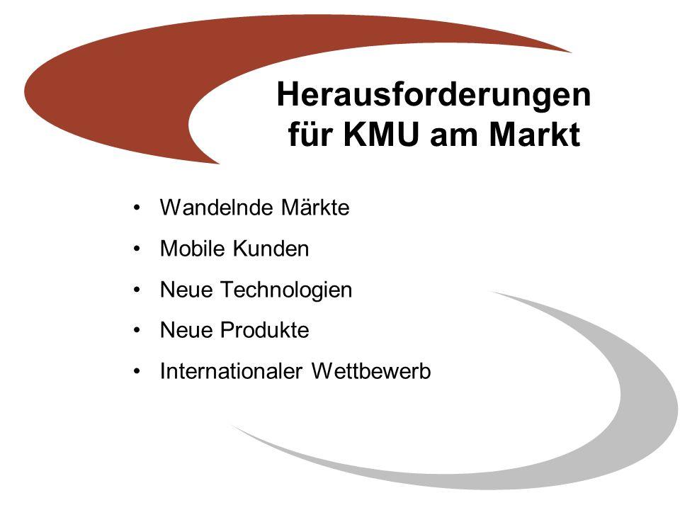 Herausforderungen für KMU am Markt Wandelnde Märkte Mobile Kunden Neue Technologien Neue Produkte Internationaler Wettbewerb