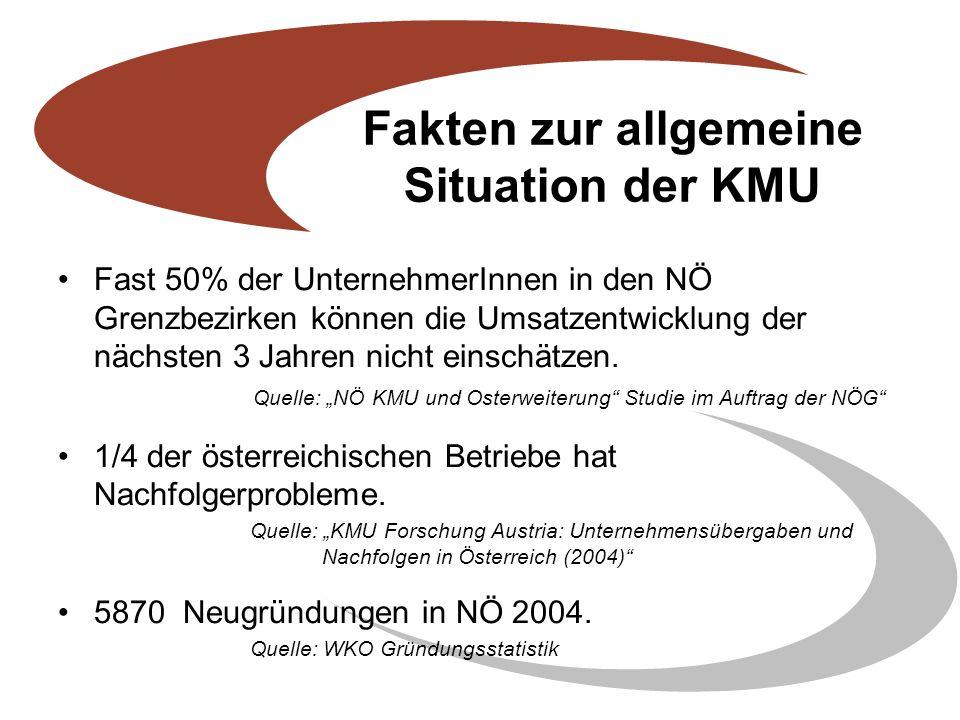 Fakten zur allgemeine Situation der KMU Fast 50% der UnternehmerInnen in den NÖ Grenzbezirken können die Umsatzentwicklung der nächsten 3 Jahren nicht einschätzen.