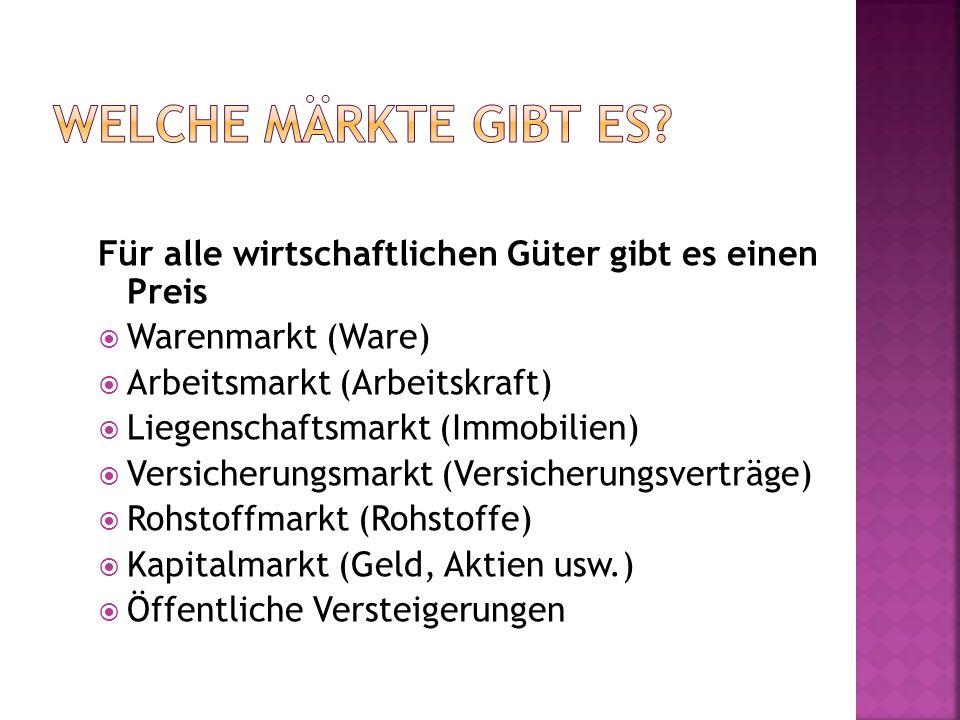 Für alle wirtschaftlichen Güter gibt es einen Preis Warenmarkt (Ware) Arbeitsmarkt (Arbeitskraft) Liegenschaftsmarkt (Immobilien) Versicherungsmarkt (
