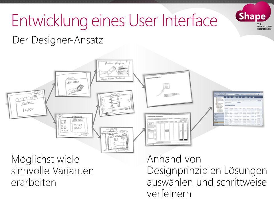 Möglichst wiele sinnvolle Varianten erarbeiten Anhand von Designprinzipien Lösungen auswählen und schrittweise verfeinern Entwicklung eines User Interface Der Designer-Ansatz