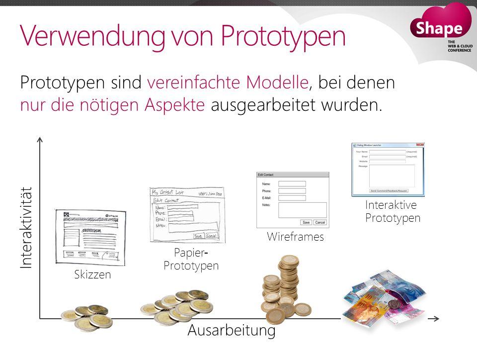 Verwendung von Prototypen Ausarbeitung Interaktivität Prototypen sind vereinfachte Modelle, bei denen nur die nötigen Aspekte ausgearbeitet wurden.