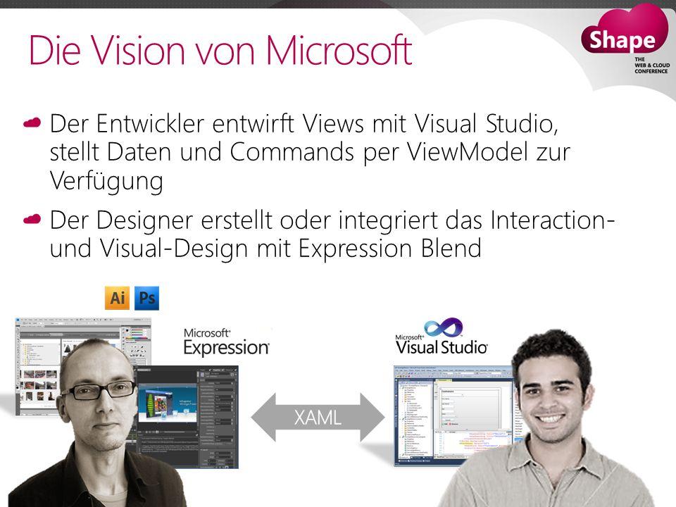 Die Vision von Microsoft Der Entwickler entwirft Views mit Visual Studio, stellt Daten und Commands per ViewModel zur Verfügung Der Designer erstellt oder integriert das Interaction- und Visual-Design mit Expression Blend