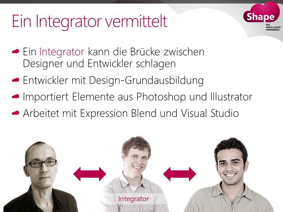 Ein Integrator vermittelt Ein Integrator kann die Brücke zwischen Designer und Entwickler schlagen Entwickler mit Design-Grundausbildung Importiert Elemente aus Photoshop und Illustrator Arbeitet mit Expression Blend und Visual Studio Integrator