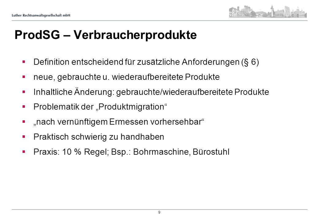 ProdSG – Verbraucherprodukte Definition entscheidend für zusätzliche Anforderungen (§ 6) neue, gebrauchte u. wiederaufbereitete Produkte Inhaltliche Ä