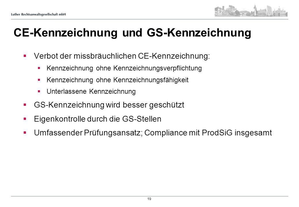 CE-Kennzeichnung und GS-Kennzeichnung Verbot der missbräuchlichen CE-Kennzeichnung: Kennzeichnung ohne Kennzeichnungsverpflichtung Kennzeichnung ohne