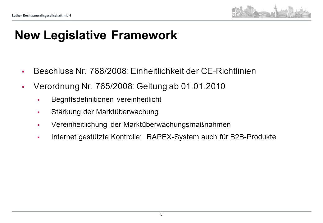 New Legislative Framework Beschluss Nr. 768/2008: Einheitlichkeit der CE-Richtlinien Verordnung Nr. 765/2008: Geltung ab 01.01.2010 Begriffsdefinition
