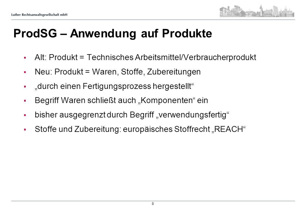 ProdSG – Anwendung auf Produkte Alt: Produkt = Technisches Arbeitsmittel/Verbraucherprodukt Neu: Produkt = Waren, Stoffe, Zubereitungen durch einen Fe