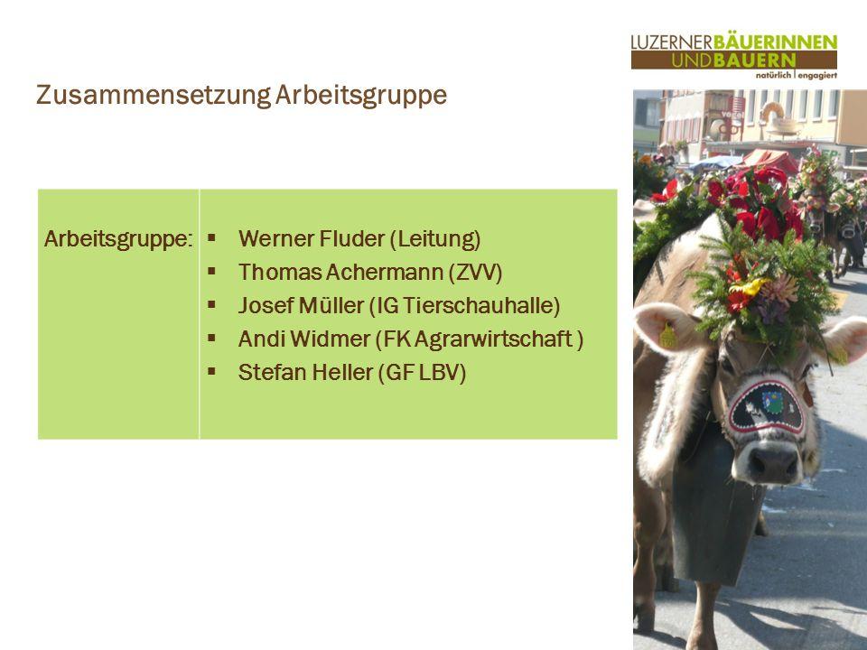 www.luzernerbauern.ch Arbeitsgruppe: Werner Fluder (Leitung) Thomas Achermann (ZVV) Josef Müller (IG Tierschauhalle) Andi Widmer (FK Agrarwirtschaft ) Stefan Heller (GF LBV) Zusammensetzung Arbeitsgruppe