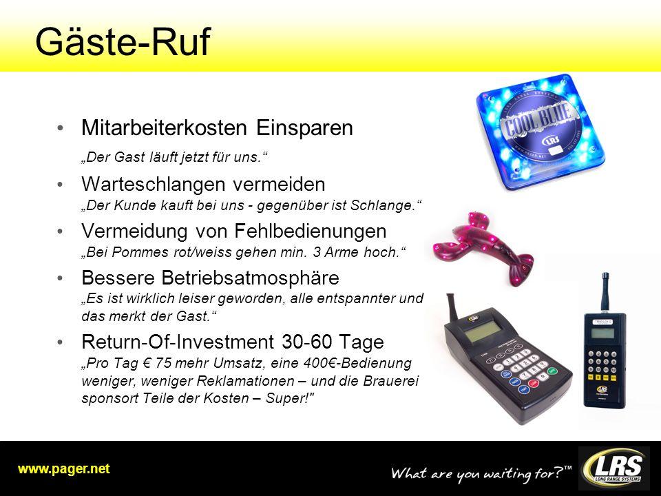 www.pager.net Gäste-Ruf Mitarbeiterkosten Einsparen Der Gast läuft jetzt für uns.