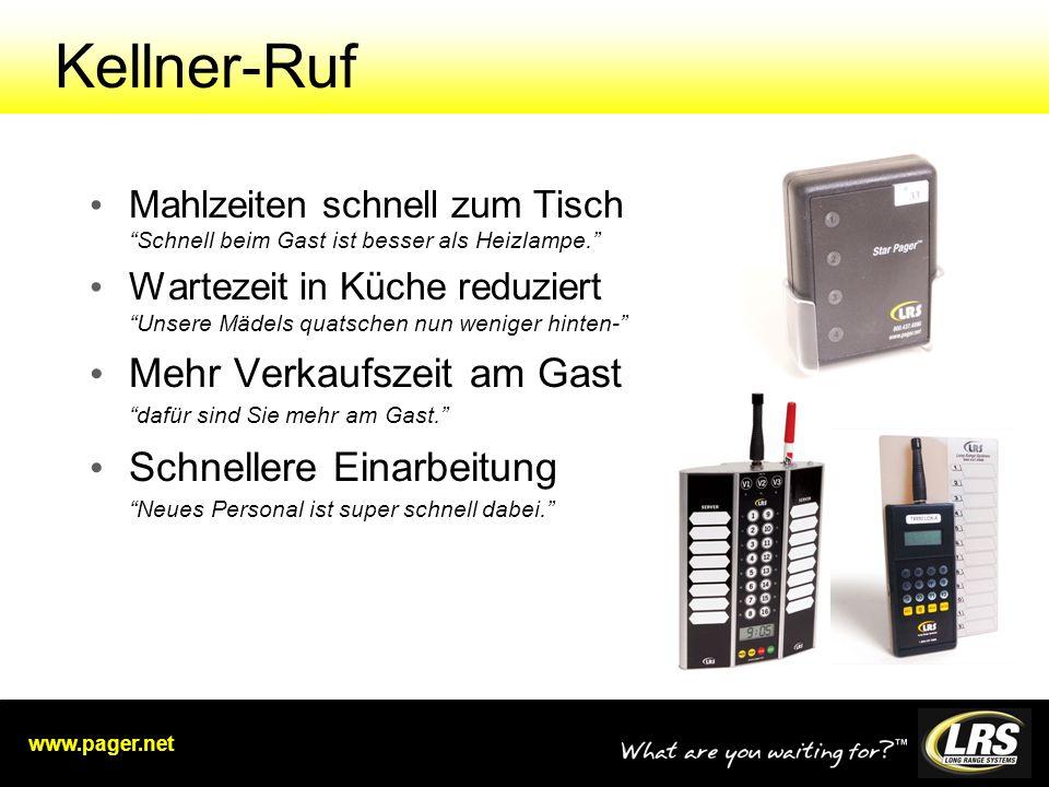 www.pager.net Kellner-Ruf Mahlzeiten schnell zum Tisch Schnell beim Gast ist besser als Heizlampe.