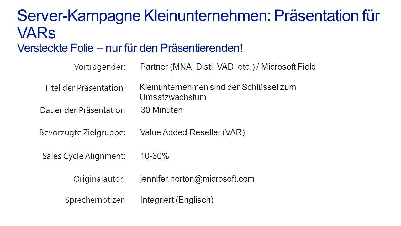 Server-Kampagne Kleinunternehmen: Präsentation für VARs Versteckte Folie – nur für den Präsentierenden.