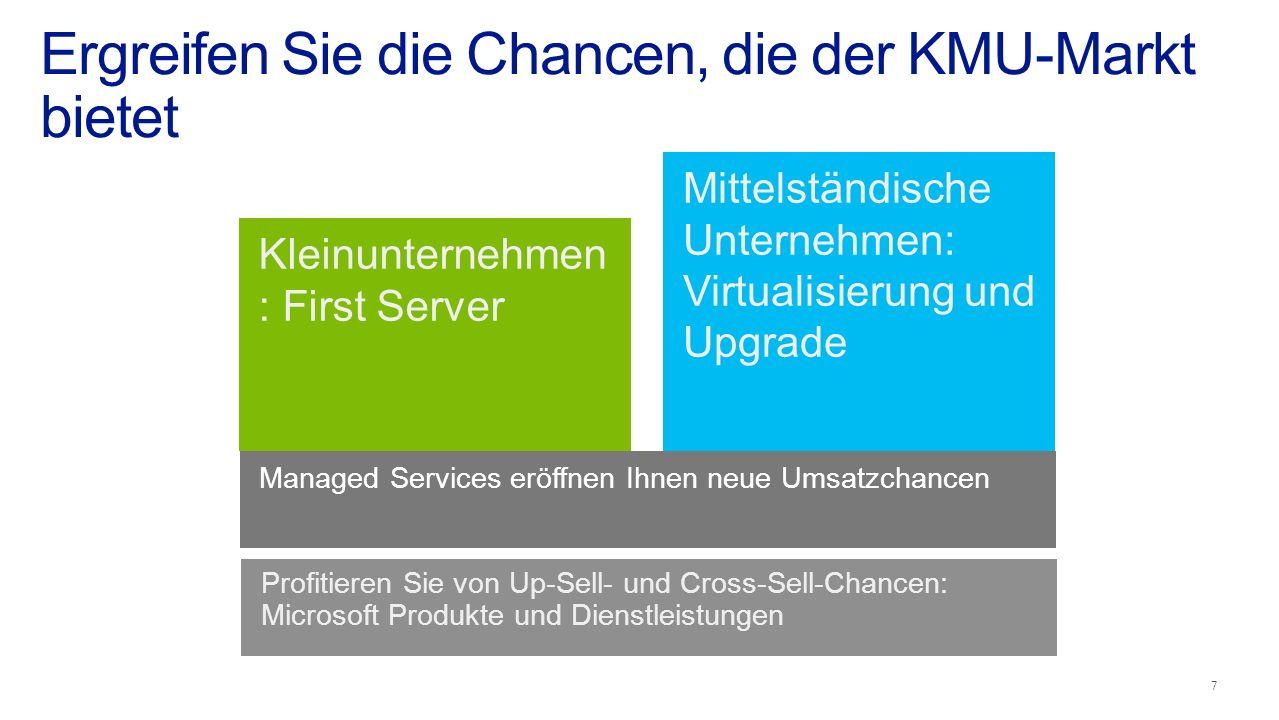First server Virtualization Ergreifen Sie die Chancen, die der KMU-Markt bietet Profitieren Sie von Up-Sell- und Cross-Sell-Chancen: Microsoft Produkte und Dienstleistungen Mittelständische Unternehmen: Virtualisierung und Upgrade Kleinunternehmen : First Server Managed Services eröffnen Ihnen neue Umsatzchancen 7