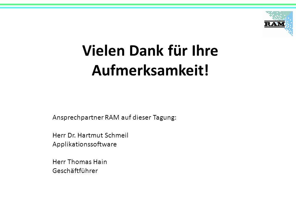 Vielen Dank für Ihre Aufmerksamkeit! Ansprechpartner RAM auf dieser Tagung: Herr Dr. Hartmut Schmeil Applikationssoftware Herr Thomas Hain Geschäftfüh