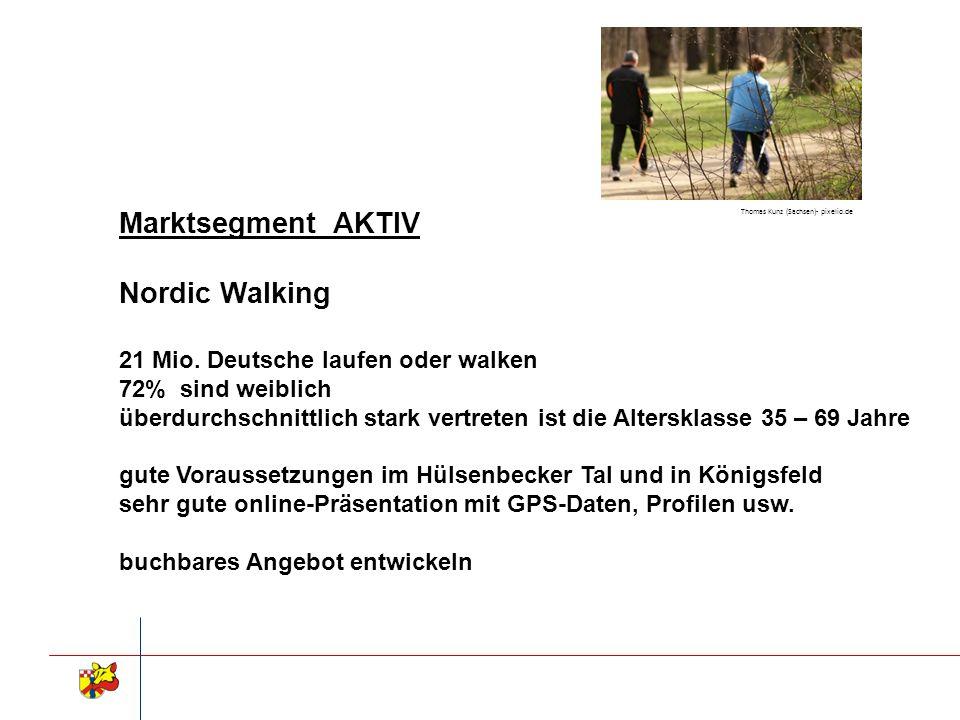 Marktsegment AKTIV Nordic Walking 21 Mio. Deutsche laufen oder walken 72% sind weiblich überdurchschnittlich stark vertreten ist die Altersklasse 35 –