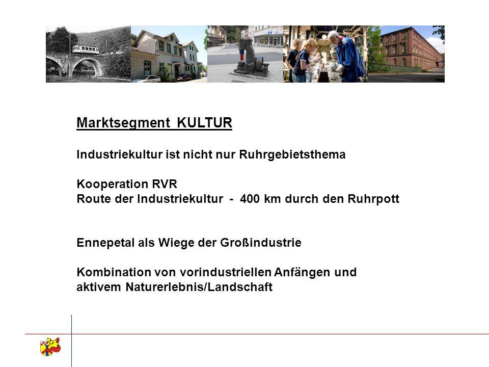Marktsegment KULTUR Industriekultur ist nicht nur Ruhrgebietsthema Kooperation RVR Route der Industriekultur - 400 km durch den Ruhrpott Ennepetal als